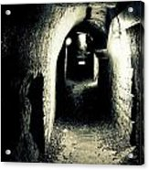 Altered Image Of A Tunnel In The Catacombs Of Paris France Acrylic Print