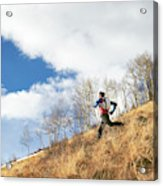 An Adult Male Trail Running Acrylic Print