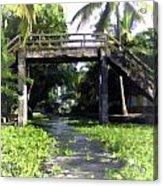 An Old Stone Bridge Over A Canal Acrylic Print