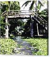 An Old Stone Bridge Over A Canal In Alleppey Acrylic Print