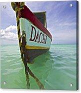 Anchored Colorful Fishing Boat Of Aruba II Acrylic Print