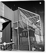 anti rpg cage surrounding observation sanger at North Queen Street PSNI police station Belfast North Acrylic Print by Joe Fox