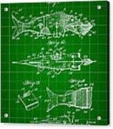 Artificial Bait Patent 1923 - Green Acrylic Print