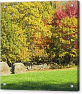Autumn Hay Being Harvested In Maine Acrylic Print