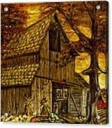 Barn and Wheelbarrow Acrylic Print