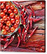 Basket Of Ripe Cherry Tomatoes And Dried Red Chillies On Rustic  Acrylic Print