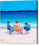 Beach Painting 'girl Friends' By Jan Matson Acrylic Print
