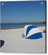 Beach With Beachchairs Acrylic Print