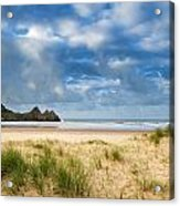 Beautiful Blue Sky Morning Landscape Over Sandy Three Cliffs Bay Acrylic Print by Matthew Gibson