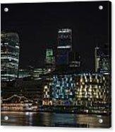 Beautiful Night City Skyline Landscape Image Of City Of London Acrylic Print