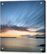 Beautiful Vibrant Sunrise Sky Over Calm Water Ocean With Lightho Acrylic Print