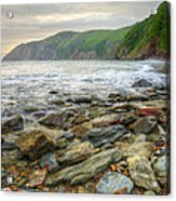 Beautiful Warm Vibrant Sunrise Over Ocean With Cliffs And Rocks Acrylic Print