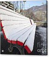 Bench With Snow Acrylic Print