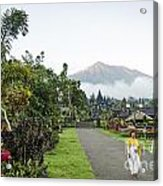 Besakih Temple And Mount Agung View In Bali Indonesia Acrylic Print