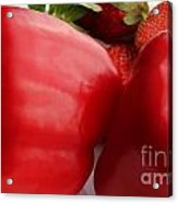 Big Red Peppers And Strawberries  Acrylic Print