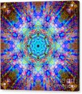 Blue Rainbow Star Mandala Acrylic Print