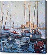 Boats In Rhodes Greece  Acrylic Print