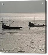Boats In The Sea.  Normandy. France. Europe Acrylic Print by Bernard Jaubert