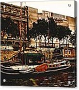 Boats On The Seine Acrylic Print