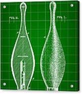 Bowling Pin Patent 1895 - Green Acrylic Print