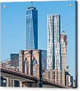Brooklyn Bridge And New York City Manhattan Skyline Acrylic Print