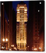 Buildings Lit Up At Night, Chicago Acrylic Print
