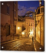 Calcada Da Gloria Street At Night In Lisbon Acrylic Print