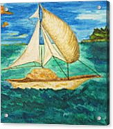 Camouflage Sailboat Acrylic Print by Debbie Nester