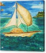Camouflage Sailboat Acrylic Print