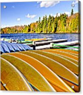 Canoes On Autumn Lake Acrylic Print by Elena Elisseeva