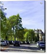 Cars On A Street In Edinburgh Acrylic Print