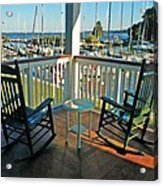 2 Chairs On The Fairhope Yacht Club Porch Acrylic Print