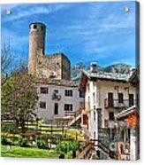 Chatelard Village With Castle Acrylic Print
