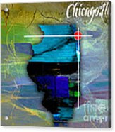 Chicago Illinois Map Watercolor Acrylic Print