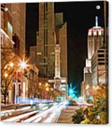 Chicago Michigan Avenue Light Streak Acrylic Print
