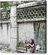 Children On Street Of Yangon Myanmar Acrylic Print