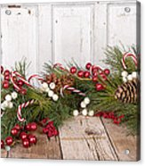 Christmas Berries On Wooden Background Acrylic Print