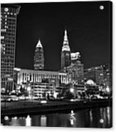 Cleveland In Black And White Acrylic Print