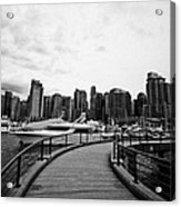 coal harbour marina and high rise apartment condo blocks in the west end Vancouver BC Canada Acrylic Print