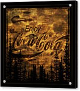 Coca Cola Wooden Sign Acrylic Print