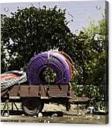 Coils Of Thick Plastic Pipe On A Carrier Wagon Acrylic Print