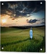 Concept Landscape Young Boy Walking Through Field At Sunset In S Acrylic Print by Matthew Gibson