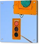 Confusing Green Red Traffic Lights Sky Copyspace Acrylic Print