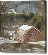 Country Road And Barn In Winter Maine Acrylic Print