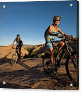 Couple Mountain Biking, Moab, Utah Acrylic Print