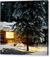 Cozy Log Cabin At Moon-lit Winter Night Acrylic Print