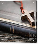 Cross On Bible Acrylic Print by Elena Elisseeva