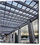 Cultured Stone Terrace Trellis Details Near Park In A City  Acrylic Print