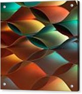Curved Colorful Sheets Paper With Mirror Reflexions Acrylic Print