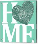 Dallas Street Map Home Heart - Dallas Texas Road Map In A Heart Acrylic Print